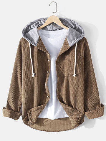 Vintage Solid Corduroy Hooded Shirt