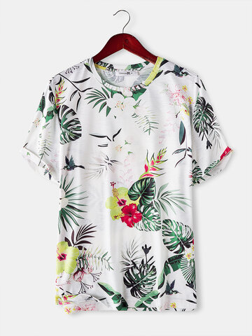 Tropical Plant Printed Floral Tee