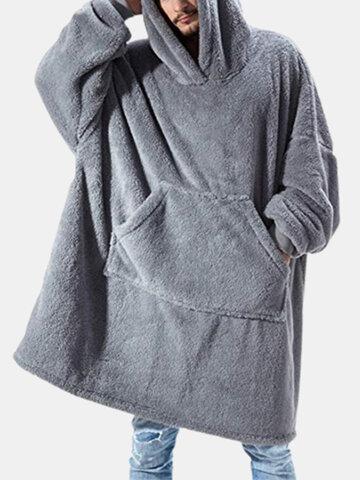 Coperta calda addensata in flanella accogliente con cappuccio