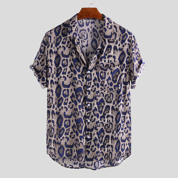 Mens Leopard Printed Casual Loose Shirts