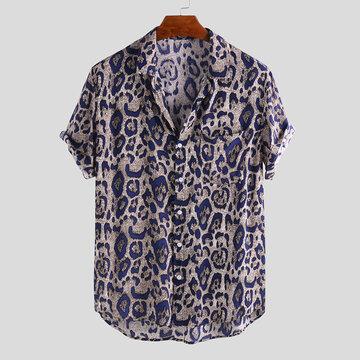 Camicie sciolte casuali stampate del leopardo degli uomini