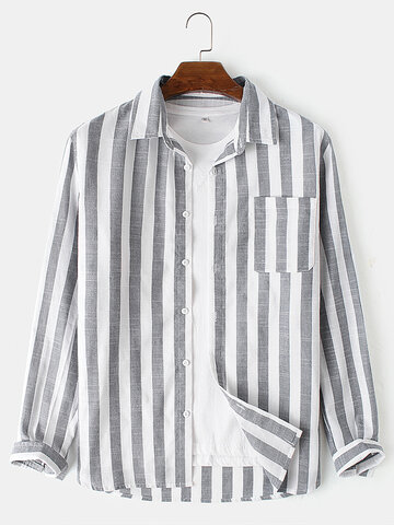Cotton Basic Stripes Print Shirts