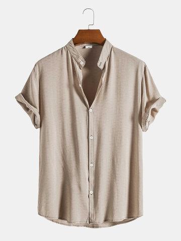 Cotton Linen Stand Collar Basics Shirts