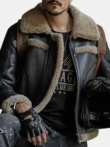 PU Leather Fur Suede Shearling Coat фото