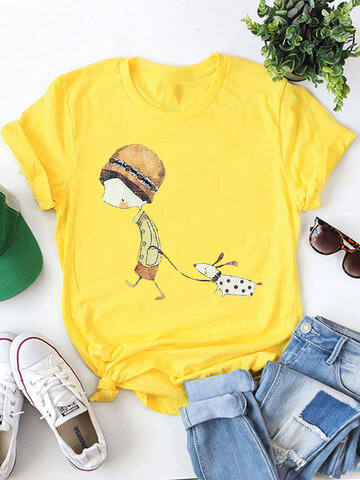 Cartoon Print Casual T-shirt