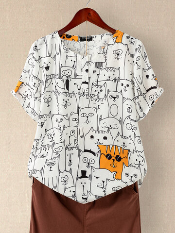 Cartoon bedrucktes O-Neck T-Shirt