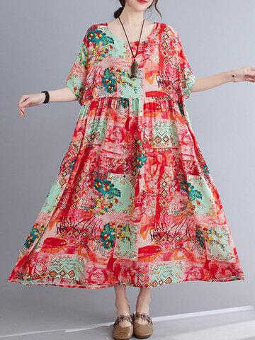 Flower Print O-neck Loose Dress