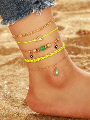 Woven Fish Multi-layer Anklet