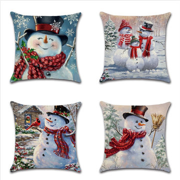 Snowman Printing Cotton Linen Pillowcase