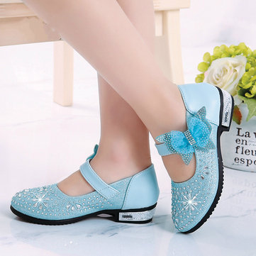Girls Rhinestones Princess Dress Flat Shoes