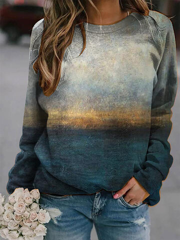 Landscape Prints Long Sleeves O-neck Casual T-shirt For Women