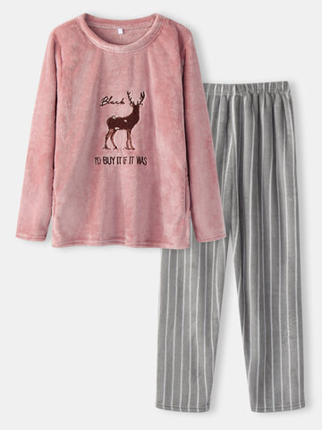 Flannel Deer Embroidery Pajamas Sets
