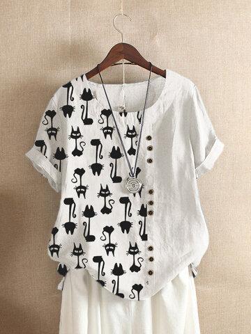 Cartoon Cat Printed Short Sleeve T-shirt