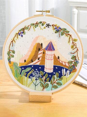 Kit ricamo fiori paesaggio fai da te con telaio ricamo paesaggio punto croce artigianato regalo arte decorazioni per la casa