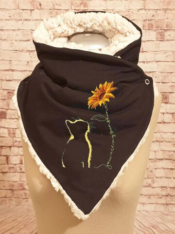 Women Thick Casual Cat Printed Scarf Adjustable Neck Wrap Warm Scarf