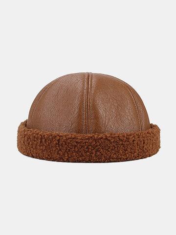 Collrown Men & Women Faux Leather Fur Around Side Skull Hat