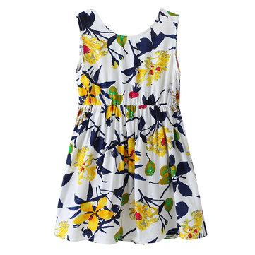 Vestidos De Verão Impresso Flor De Crianças