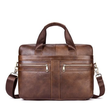 Man Genuine Leather Crossbody 14″ Laptop Bag
