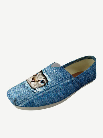 Square Round Denim Loafers Shoes