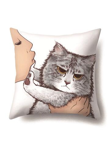 Cat Geometric Creative Single-sided Polyester Pillowcase Sofa Pillowcase Home Cushion Cover Living Room Bedroom Pillowcase