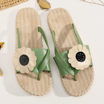 Clip Toe Beach Massage Soles Sunflower Slippers