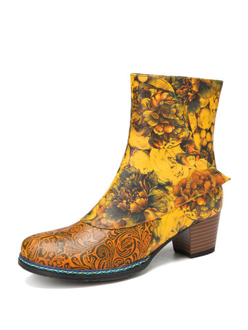 SOCOFY Graceful Flower Pattern Stitching Cowhide Leather Short Boots