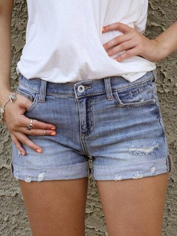 Zerrissene lässige Jeansshorts