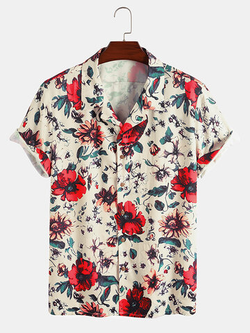 Allover Floral Print Revere Shirts