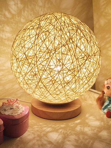 Rattan Ball Night Light Table Bedside Lamp