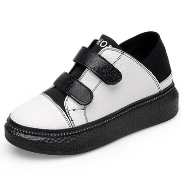Hook Loop Color Match White Shoes, White black