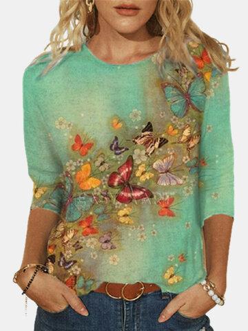 Butterflies Print Cotton Blouse