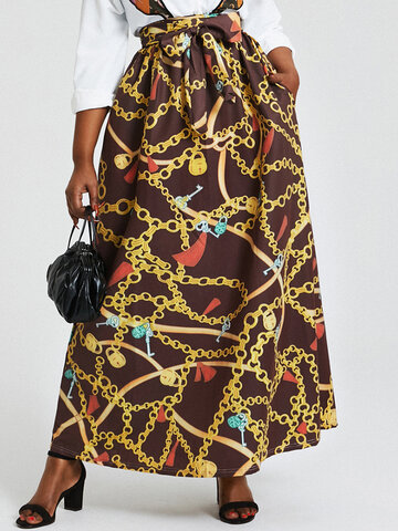 African Ethnic Floral Print Skirt