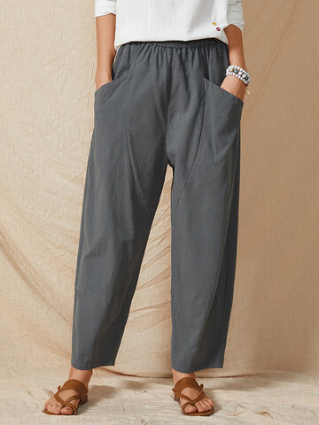 Pocket Elastic Waist Casual Loose Pants