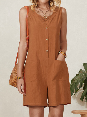 Sleeveless Button Loose Shorts Jumpsuits