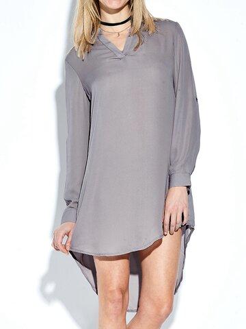 Casual Irregular Hem V-neck Long Sleeve Women Mini Dress