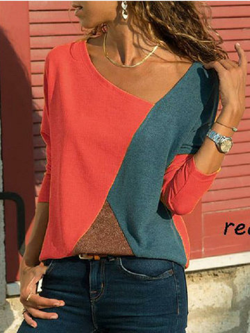 Patchwork V-neck Blouse
