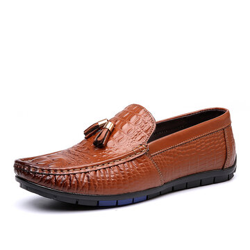 Men Crocodile Pattern Slip On Driving Loafers