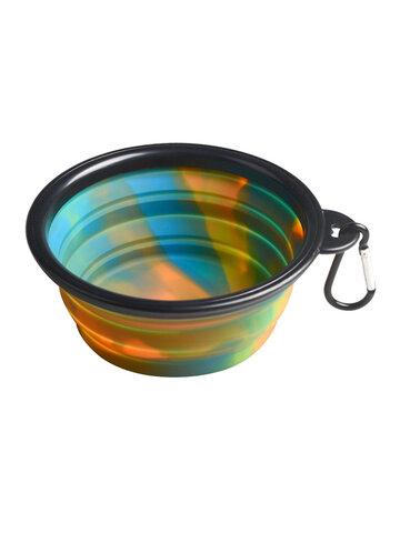 Camouflage Silicone Bowl Foldable Portable Out Pet Food Bowl