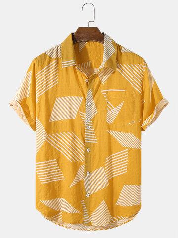 Irregular Stripe Block Print Shirts