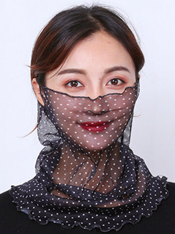 Polka Dot Floral Breathable Printing Masks Neck Protection Sunscreen Ear-mounted Scarf
