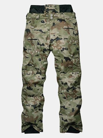 Mens Windproof Waterproof Thermal Camouflage Ski Pants