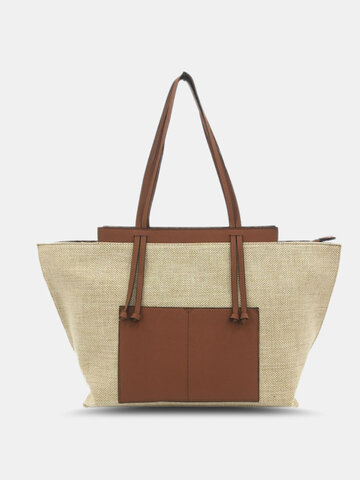 Stitching Color Smooth Zipper Tote