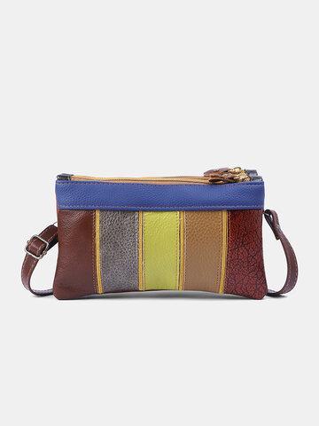 Genuine Leather Stitching Pattern Crossbody Bag