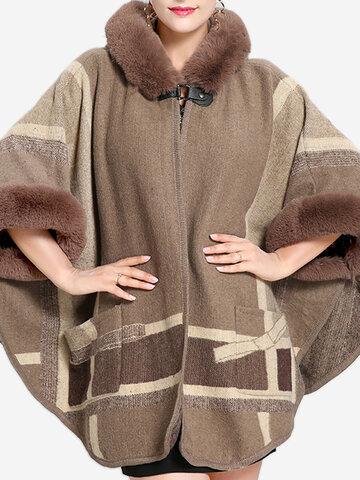 Knit Poncho Hooded Coat