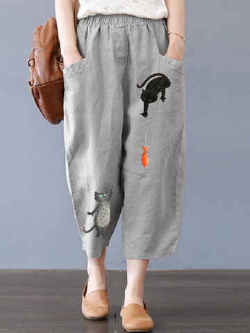 Cartoon Cat Print Harem Pants