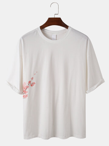 Floral Letter Back Print Relaxed T-Shirts