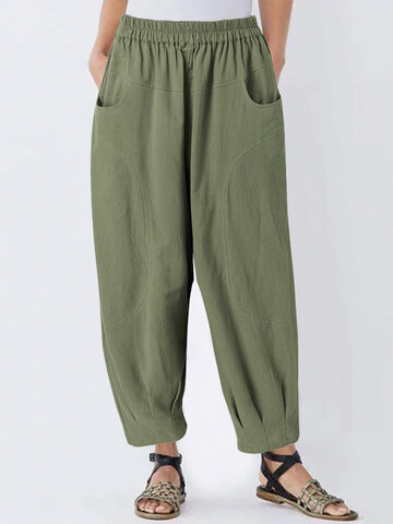 Solid Color Loose Harem Pants