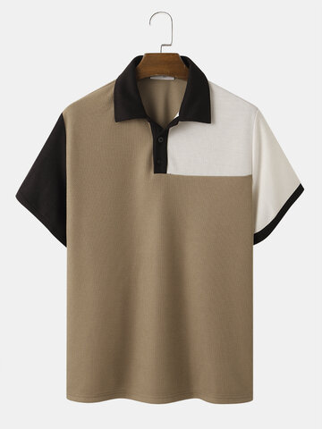 Contrasting Color Knitted Golf Shirt