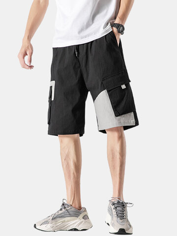 Contrasting Patchwork Cargo Shorts
