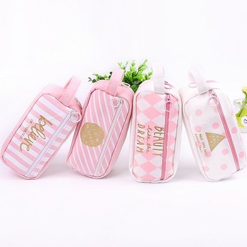 Pink Large Capacity Canvas Pencil Case Pen Box School Bag